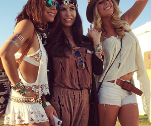 girl, festival, and friends image
