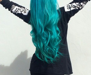 blue hair, turquoise hair, and teal hair image