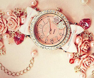 pink, watch, and rose image