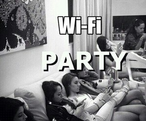 black and white, happy, and wifi image