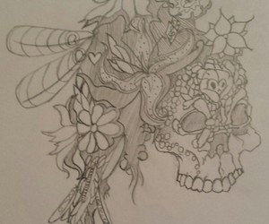 art, flower, and skull image
