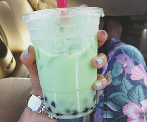 bubble tea, bubbles, and drink image