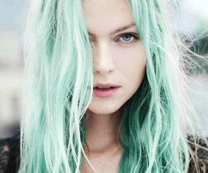 girl and colored hairs image