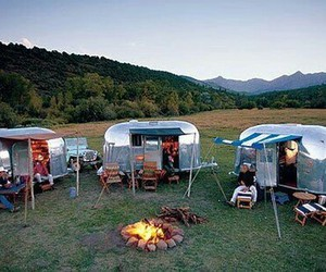 airstream, camping, and trailer image