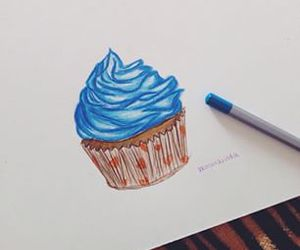 blue, cupcake, and draw image