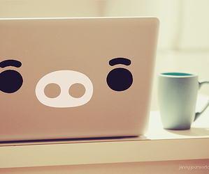 cute, pig, and laptop image