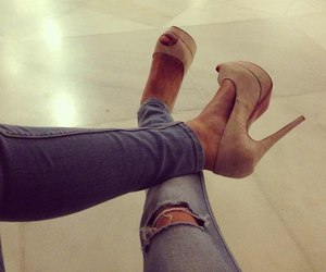 brown, heels, and style image
