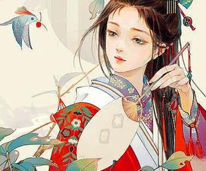 anime, bird, and chinese girl image