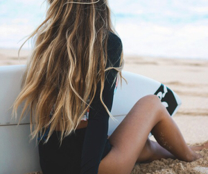 beach, surf, and hair image