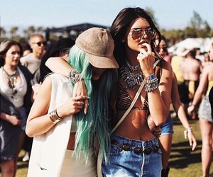 kendall jenner, kylie jenner, and coachella image