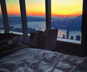 bed, luxurious, and morning image