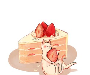 cake, cat, and strawberry image
