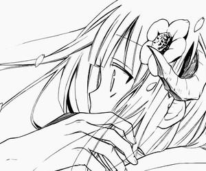 anime, black & white, and flower image