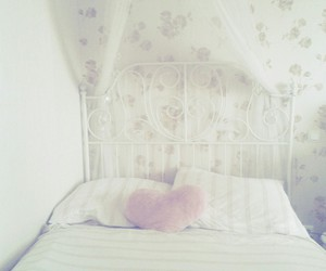 bed, heart, and pillows image
