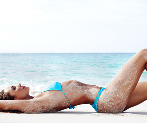 beach, blue, and model image