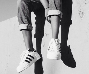 adidas, black and white, and shoes image