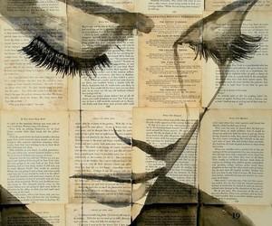 art, girl, and book image