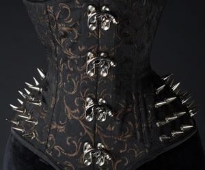 black, brocade, and corset image