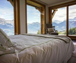bed, mountains, and view image