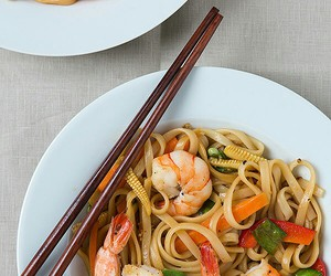 chinese food, pasta, and shrimp image