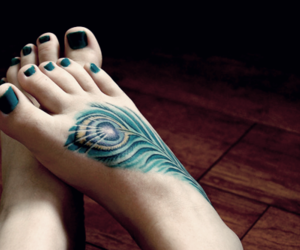 tattoo, feet, and feather image