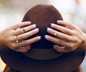 hat, nails, and fashion image