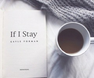 if i stay, book, and coffee image