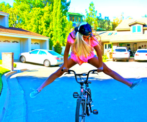 girl, bike, and blonde image