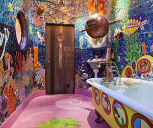 bathroom, beatles, and yellow submarine image