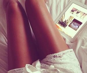 legs, girl, and ipad image