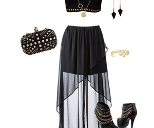 maxi skirt, ankle boots, and black and gold image