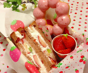 strawberry, food, and donuts image