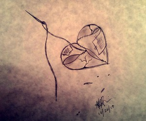 broken heart, drawings, and needle image