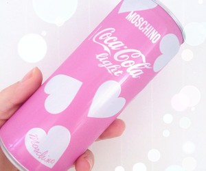 coca cola, heart, and pink image
