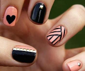 black, black and pink, and nails image