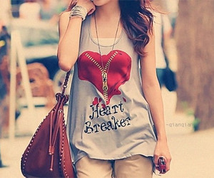 fashion, girl, and heart image