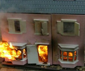 fire, dollhouse, and doll house image