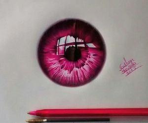 art, eye, and pink image
