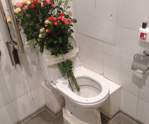 bathroom, flowers, and pale image