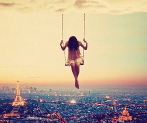 clouds, girl, and paris image