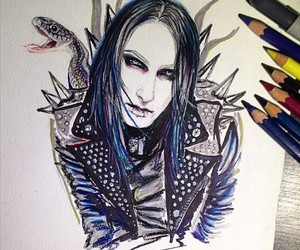 art, drawing, and motionless in white image