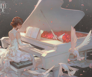 piano, anime, and anime girl image