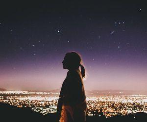 girl, night, and light image