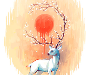deer, spring, and sun image