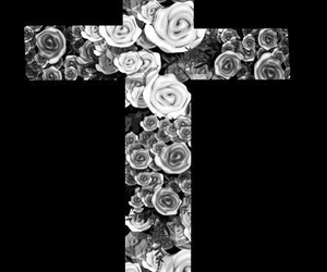 cross, rose, and black image