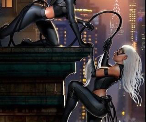 black cat, catwoman, and comic image
