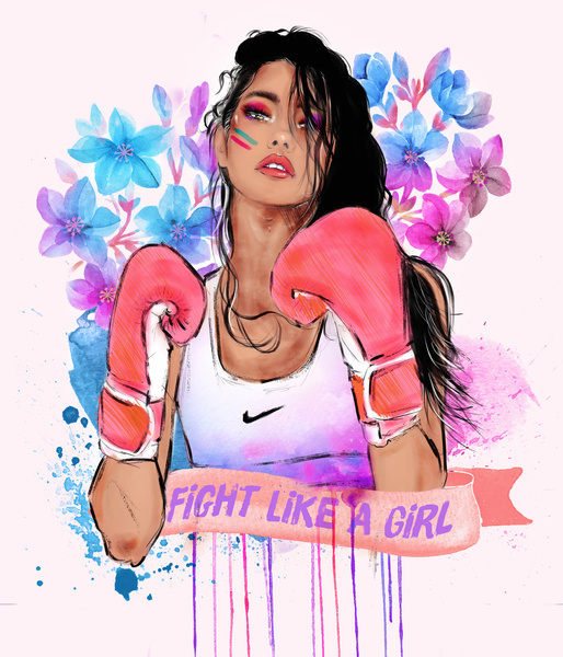 girl, fight, and nike image