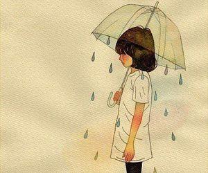 rain, girl, and art image
