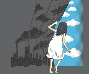 girl, clouds, and art image