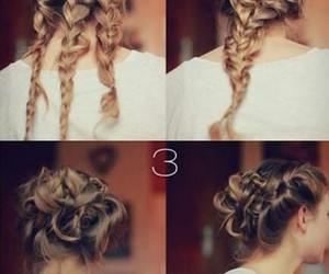 braids, bun, and three image